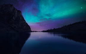 Picture lake, silence, mountain, Northern lights, Night