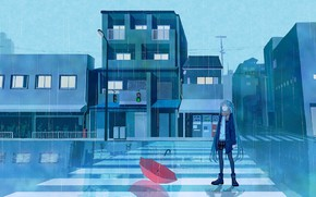 Wallpaper rain, umbrella, Hatsune Miku, road, girl, traffic light, Vocaloid