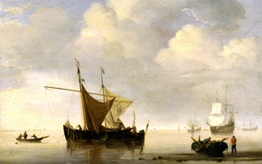 Picture sail, sea, Willem van de Velde the Younger, There was no wind. Two Dutch Ship, ...