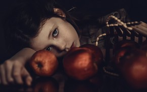 Picture apples, girl, freckles, Misia