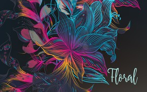 Picture flowers, abstraction, background, the inscription, texture