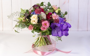 Picture rose, bouquet, tape, Orchid, eustoma, Calla lilies