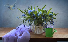 Wallpaper snowdrops, decor, Scilla, the watering pot, still life, flowers