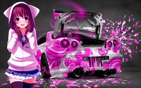 Picture Girl, Auto, Machine, Nissan, Pink, Anime, Stockings, Skirt, Car, Nissan Skyline GT-R R34 (BNR34), Chan, …