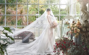 Picture flowers, Girl, bouquet, dress, the bride, phot