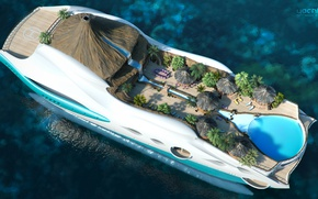 Wallpaper the project, superyacht, Futuristic, the yacht-island, gesign, Yacht island, tip 2