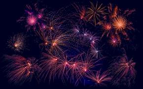 Wallpaper salute, fireworks, New year, fireworks, night, light, lights
