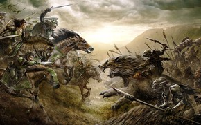 Picture cinema, dark, battlefield, blood, warhammer, armor, movie, The Lord of the Rings, battle, horse, elf, …