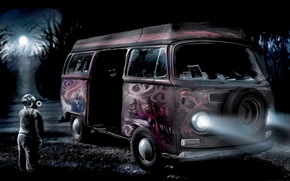 Wallpaper graffiti, people, mask, bus, Romantically Apocalyptic, don't procure confectionary from questionable vans