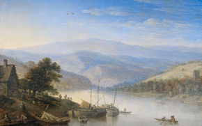 Picture landscape, tree, oil, picture, Herman Saftleven, The view of the Rhine in Andernach