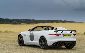 Picture field, white, the sky, clouds, hills, vegetation, Jaguar, V8, 575 HP, 5.0 L., F-Type Project …