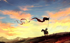 Picture fantasy, sky, landscape, nature, clouds, painting, dragon, horse, digital art, artwork, countryside, fantasy art, Knight, …