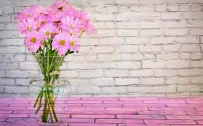 Picture flowers, pink, bouquet, vase, Daisy