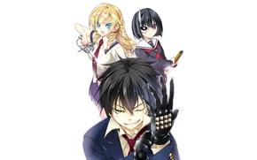 Picture girl, sword, anime, katana, ken, blade, blonde, mask, bishojo, seifuku, Armed Girl's Machiavellism, Busou Shoujo …