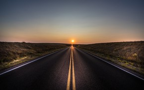 Wallpaper sunset, road, the sun