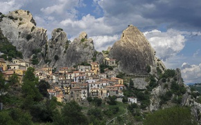 Picture mountains, rocks, home, Italy, Castelmezzano, Castelmezzano