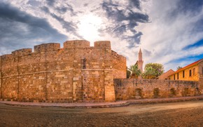 Picture road, clouds, castle, wall, Cyprus, Larnaca, Larnaka Medieval Castle