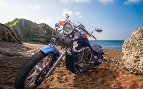 Wallpaper beach, motorcycle, bike