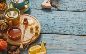 Picture lemon, tea, honey, Cup, lemon, honey, grass, wood, cup, tea, herbal