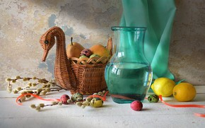 Wallpaper Utica, pitcher, basket, pear, Verba, lemons, fruit, still life, eggs, drape, Holiday, tape, table, Bright ...