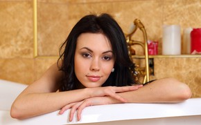 Picture look, face, model, brunette, bathroom, Karina, Darina, Joanna, Sheri Vi