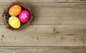 Picture colorful, Easter, socket, happy, wood, spring, Easter, eggs, holiday, basket, the painted eggs