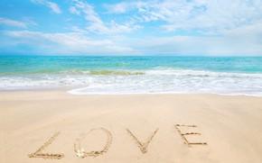 Picture sand, sea, wave, beach, summer, the sky, love, summer, love, beach, sky, sea, heart, blue, …