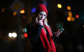 Wallpaper finger on lips, lips, smartphone, portrait, long hair, looking at camera, coat, blonde, hood, mouth, ...