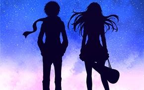 Picture look, girl, anime, art, guy, silhouettes, Shigatsu wa Kimi no Uso, Your April lie