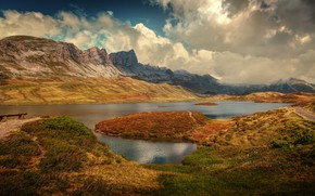 Picture clouds, mountains, lake, Switzerland, Alps, Switzerland, Alps, Obwalden, Obwalden, Lake Tannen, The Tannensee lake