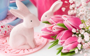 Wallpaper spring, decoration, bunny, Easter, pastel, pink, Easter, tulips, tulips, happy, delicate, eggs, spring, flowers, flowers