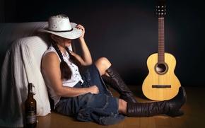 Wallpaper guitar, bottle, girl