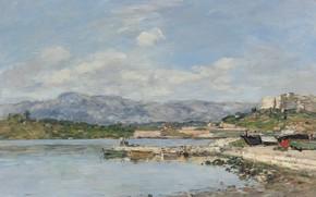 Picture landscape, picture, Eugene Boudin, Eugene Boudin, Antibes. Fort Carré
