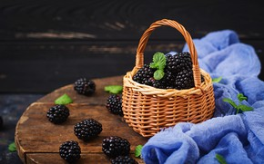 Picture berries, basket, fresh, wood, BlackBerry, blackberry, berries