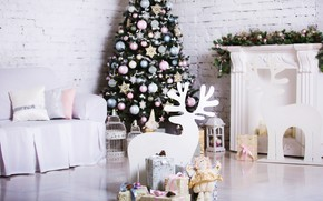 Picture decoration, room, toys, tree, New Year, Christmas, gifts, white, Christmas, design, wood, Merry Christmas, Xmas, …
