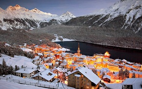 Picture landscape, mountains, lights, lake, home, Switzerland, St. Moritz