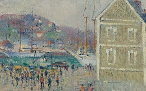 Picture house, ship, picture, port, the urban landscape, Gustave Loiseau, Gustave Loiseau, The Basin of Berrigny. …