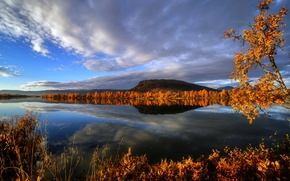 Picture autumn, trees, mountains, lake, reflection, river, Sweden