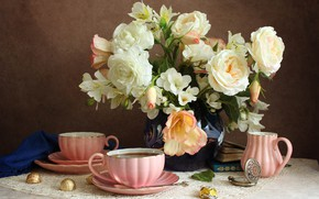 Wallpaper flowers, watch, books, roses, candy, the tea party, Cup, vase, napkin, alstremeria, the milkman