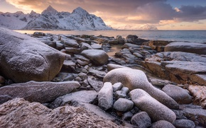 Picture snow, sunset, stones, Norway, Flakstad, Varied, Lofoten