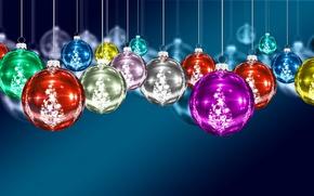 Wallpaper balls, decoration, toys, New Year, Christmas