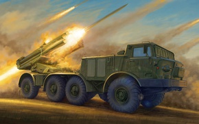 Picture Hurricane, MLRS, 220 mm, Soviet jet system of volley fire, 9К57
