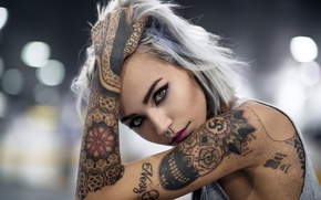 Picture look, face, style, model, hand, tattoo