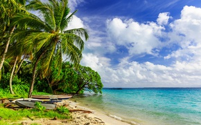 Wallpaper clouds, tropics, horizon, the sky, the sun, boats, sea, sand, shore, trees, palm trees