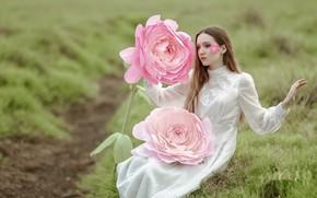 Wallpaper flower, girl, nature