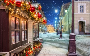 Picture Winter, Night, The city, Snow, New Year, Street, Lights, Moscow, Russia, Manezhnaya Square