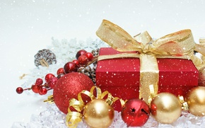 Picture balls, snow, gift, balls, New Year, Christmas, merry christmas, decoration, xmas, holiday celebration