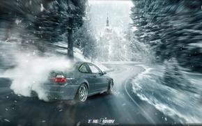 Picture winter, car, machine, auto, forest, city, fog, race, bmw, BMW, car, drift, drift, sports car, …
