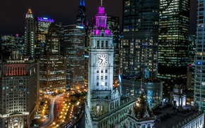 Picture night, lights, watch, tower, home, Chicago, USA, Il
