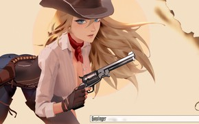 Wallpaper anime, illustration, girls with guns, art, shirt, girl, Cowgirl, gun, weapon, blue eyes, pants, scarf, ...